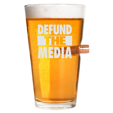.50 Cal Bullet Pint Glass - Defund the Media