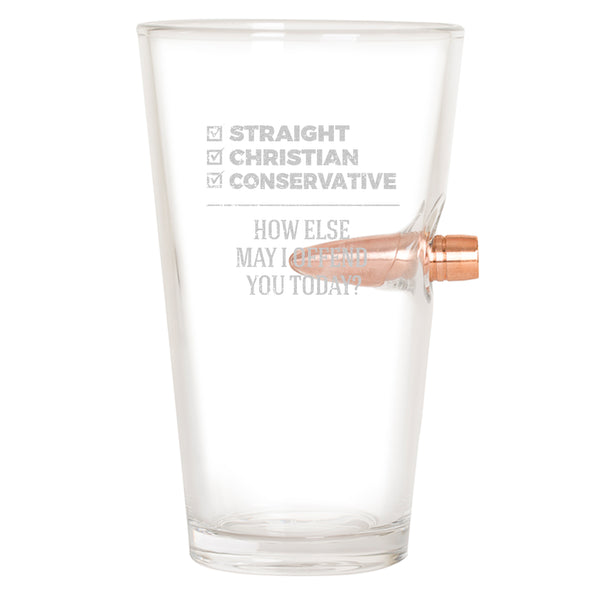 .50 Cal Bullet Pint Glass - Straight Christian Conservative