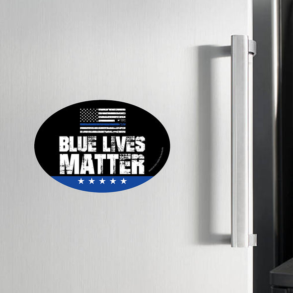 Blue Lives Matter with Flag 6x4 Oval Magnet