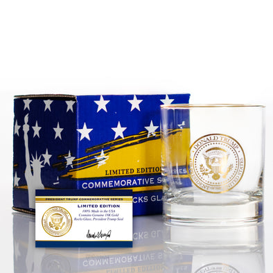 Donald Trump 18KT Gold Presidential Seal with Halo Rim Whiskey Glass - Limited Edition