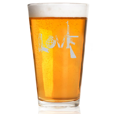 Pint Glass - Love - Written in Guns and Weapons