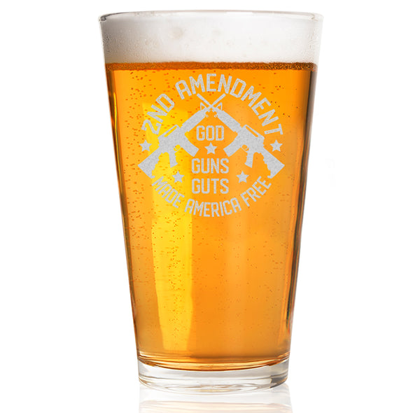 Pint Glass - God, Guns, Guts Made America Free