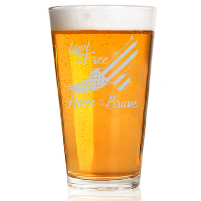 Pint Glass - Eagle Land of the Free Home of the Brave