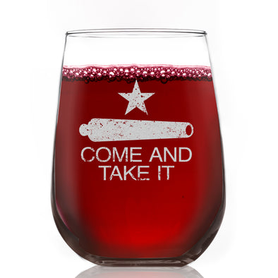 Wine Glass - Come and Take It Cannon