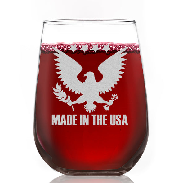 Wine Glass - Made in the USA Eagle