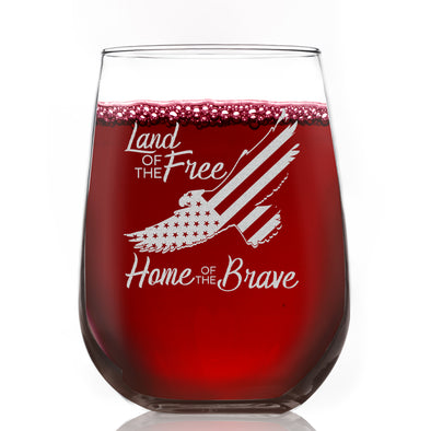 Wine Glass - Eagle Land of the Free Home of the Brave