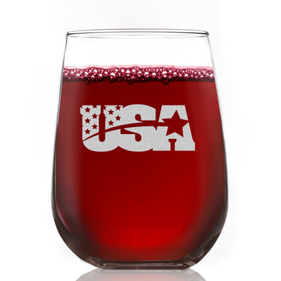 Wine Glass - USA Emblem