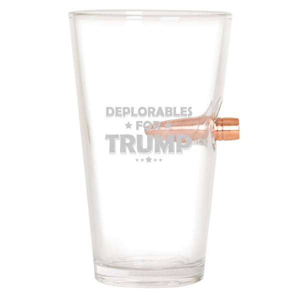 .50 Cal Bullet Pint Glass - Deplorables For Trump