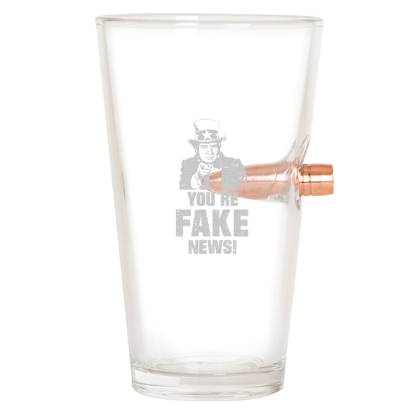 .50 Cal Bullet Pint Glass - You're Fake News