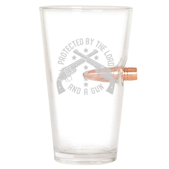 .50 Cal Bullet Pint Glass - Protected by the Lord and a Gun