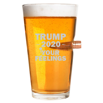 .50 Cal Bullet Pint Glass - Trump 2020 Stick Figure - Fuck Your Feelings Long