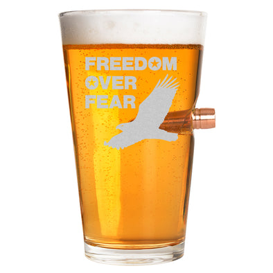 .50 Cal Bullet Pint Glass - Freedom over Fear – Eagle
