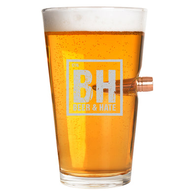 .50 Cal Bullet Pint Glass - Beer & Hate