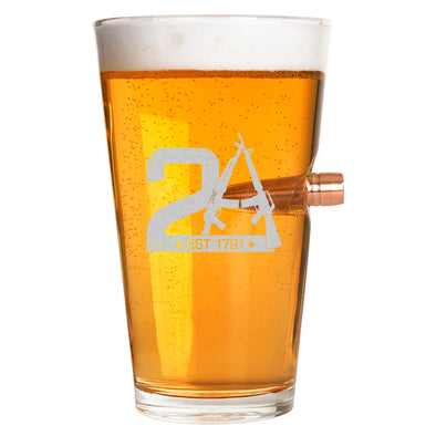 .50 Cal Bullet Pint Glass - 2A Est 1791