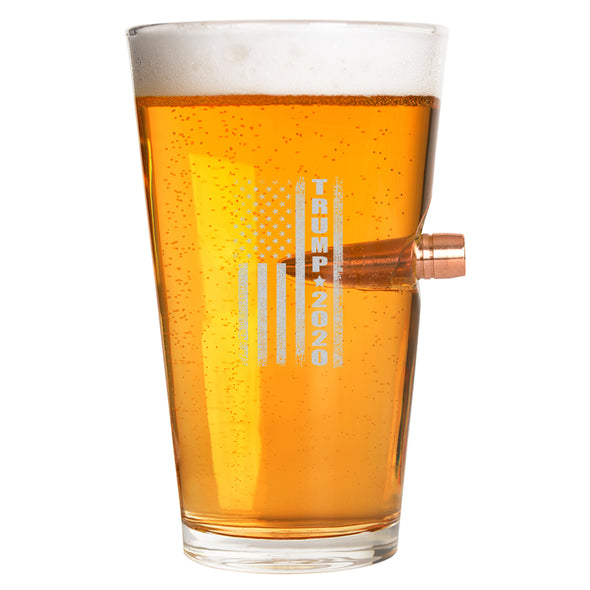 .50 Cal Bullet Pint Glass - Trump 2020 Flag