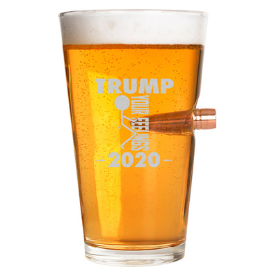 .50 Cal Bullet Pint Glass - Trump 2020 Stick Figure - Fuck Your Feelings