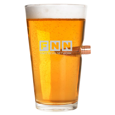 .50 Cal Bullet Pint Glass -FNN - Fake News Network uppercase