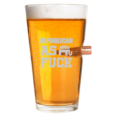 .50 Cal Bullet Pint Glass - Republican As Fuck