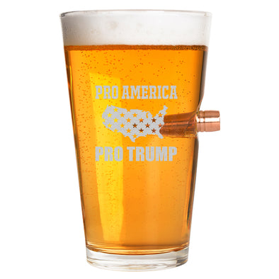 .50 Cal Bullet Pint Glass - Pro America, Pro Trump