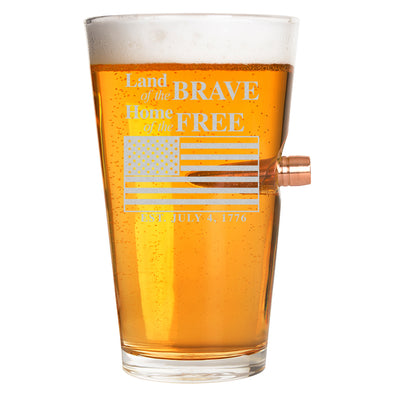 .50 Cal Bullet Pint Glass  - Land of the Brave, Home of the Free