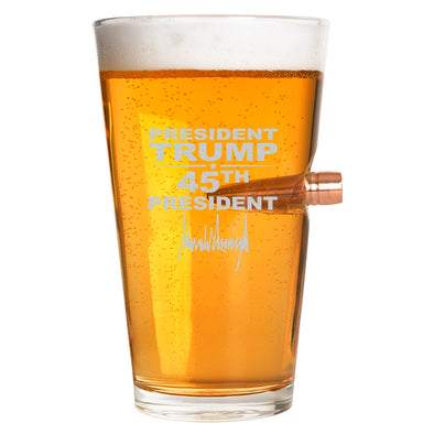 .50 Cal Bullet Pint Glass - President Trump 45th President Signature