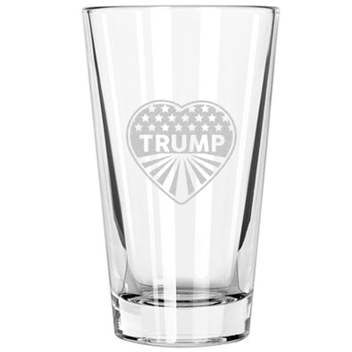 Pint Glass - Heart Trump - Stars and Stripes