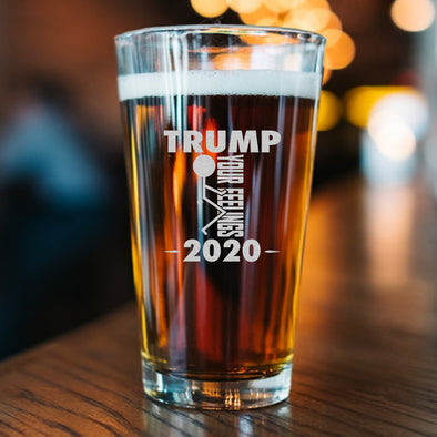 Pint Glass - Trump 2020 Stick Figure - Fuck Your Feelings