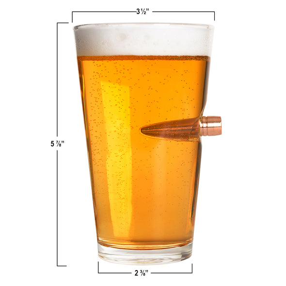 .50 Cal Bullet Pint Glass - The Right to Bear Arms Will Be Defended