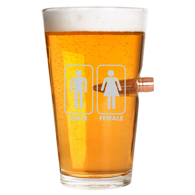 .50 Cal Bullet Pint Glass - Gender Sign