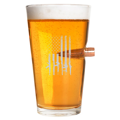 .50 Cal Bullet Pint Glass - Gun Flag