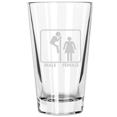 Pint Glass - Peeking Gender Sign