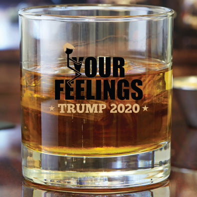 Whiskey Glass - Trump 2020 Stick Figure in Color - Fuck Your Feelings