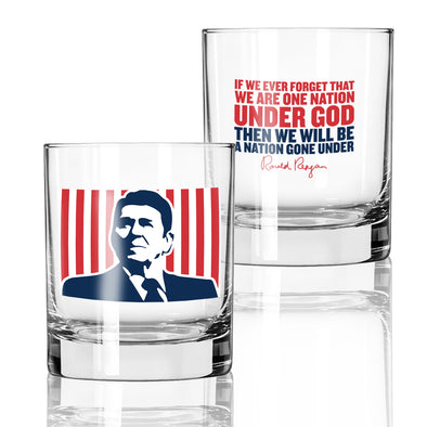 Whiskey Glass - Reagan One Nation Under God Color