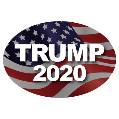 Trump 2020 - Flag Background Car 6x4 Oval Magnet
