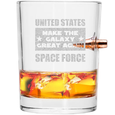 .308 Bullet Whiskey Glass - United States Space Force - Make the Galaxy Great Again