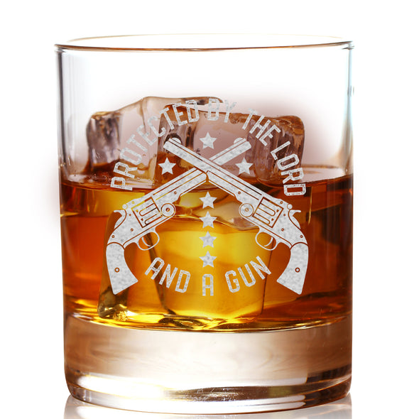 Whiskey Glass - Protected by the Lord and a Gun