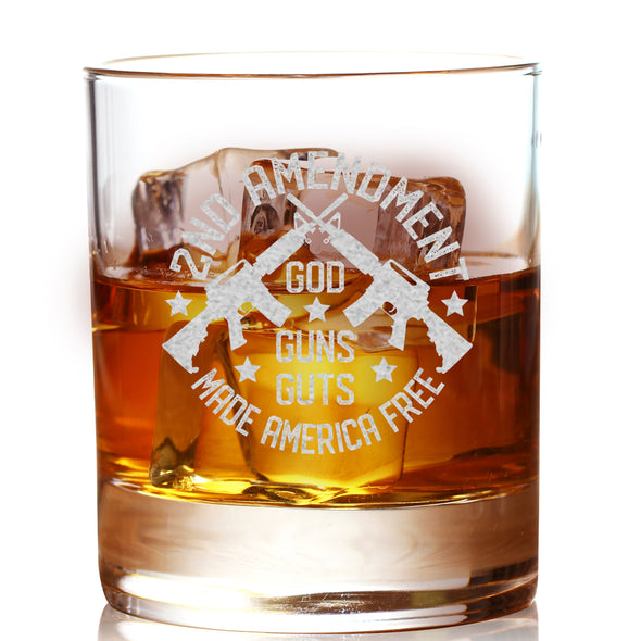 Whiskey Glass - God, Guns, Guts Made America Free