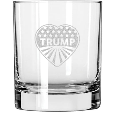 Whiskey Glass - Heart Trump - Stars and Stripes