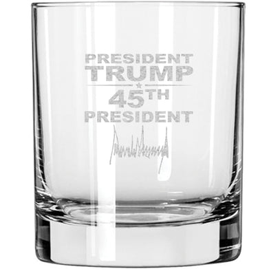 Whiskey Glass - President Trump 45th President Signature