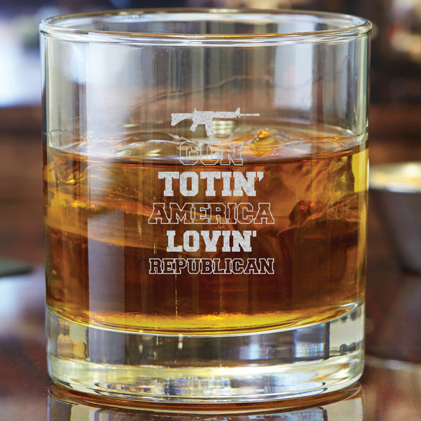 Whiskey Glass - Gun Totin' America Lovin' Republican