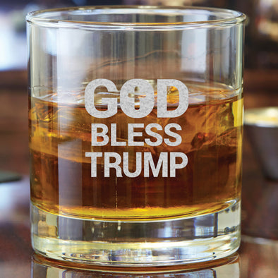 Whiskey Glass - God Bless Trump