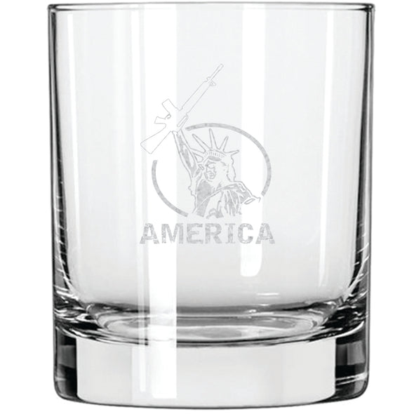 Whiskey Glass - Lady Liberty Holding an AR-15