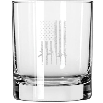 Whiskey Glass - Gun Flag