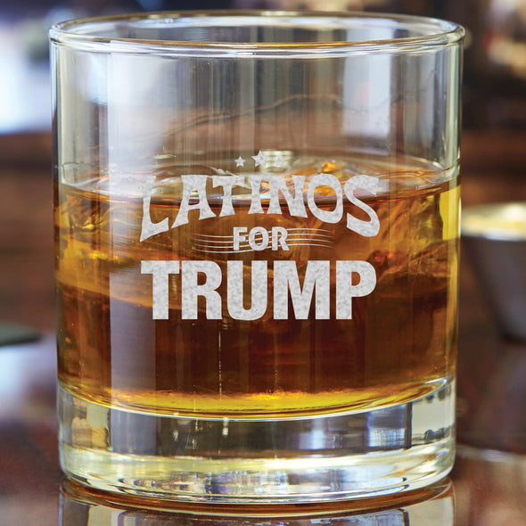 Whiskey Glass - Latinos for Trump
