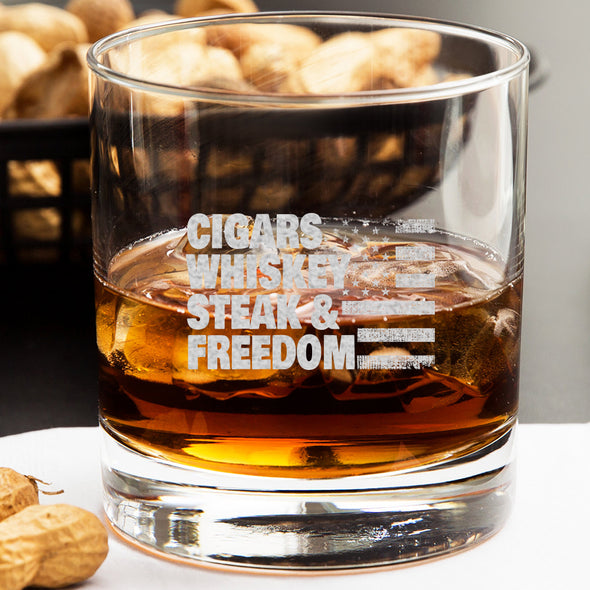Whiskey Glass - Cigars, Whiskey, Steak and Freedom
