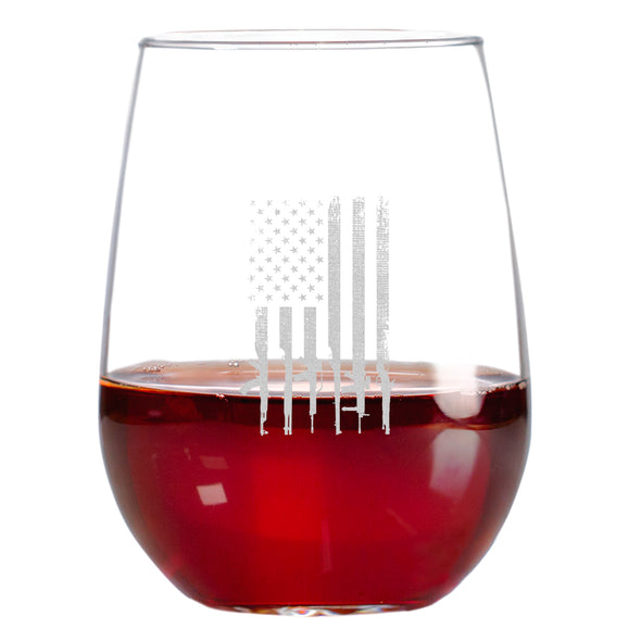 Wine Glass - Gun Flag