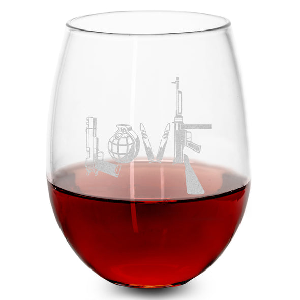 Wine Glass - Love - Written in Guns and Weapons