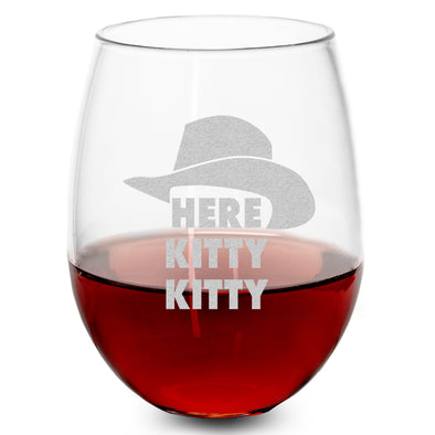 Wine Glass - Here Kitty Kitty