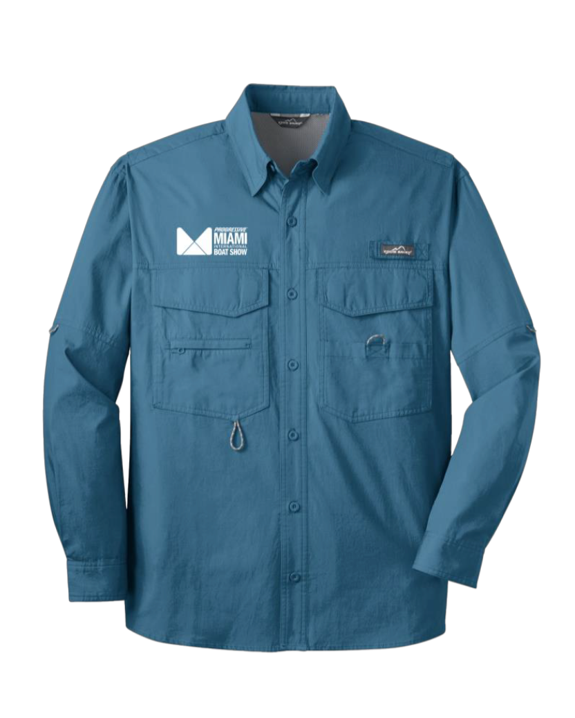 Eddie Bauer Long Sleeve Fishing Shirt in Blue