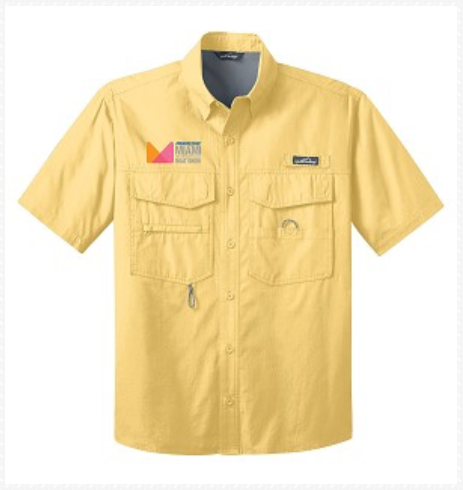 Eddie Bauer Short Sleeve Fishing Shirt in Yellow or Blue
